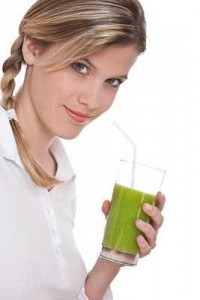Lady Drinking Green Superfood