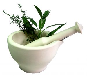 Picture of herbs and pestle and mortar